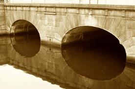 Copenhagen, Denmark bridge across the mote in city center